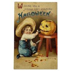 1911 Signed Clapsaddle Halloween Postcard International Art Publishing Co IAP Boy with JOL Jack O Lantern 1238