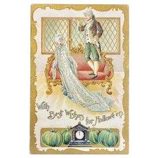 Gottschalk German Halloween Embossed Postcard Romantic Colonial Couple Green Pumpkins
