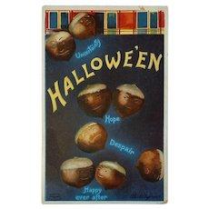 1910 Signed Clapsaddle Halloween Postcard International Art Publishing Co IAP Fantasy Acorn Heads Anthropomorphic 978