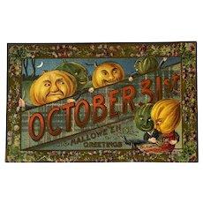Gottschalk German Halloween Embossed Postcard Anthropomorphic Orange and Green Pumpkins October 31st Scottish Tartan Banner Thistle Border