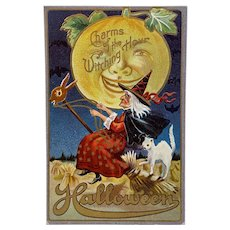 M L Jackson Unused Halloween Postcard Charms of the Witching Hour White Cat Moon Witch on Hobby Horse Broom Embossed