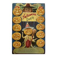 M L Jackson Halloween Don'ts Postcard Witch Pumpkin Corn Man Black Cat Jack O Lanterns JOL Embossed
