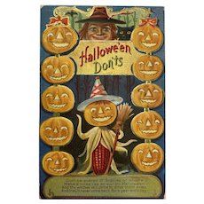 M L Jackson Halloween Don'ts Postcard Witch Pumpkin Corn Man Black Cat Jack O Lanterns JOL Embossed