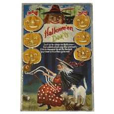 1911 M L Jackson Halloween Don'ts Postcard Witch on Hobby Horse White Cat Jack O Lanterns JOL Embossed