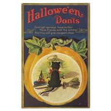 M L Jackson Halloween Don'ts Postcard Pumpkin Black Cat Witch Hat Broomstick Embossed