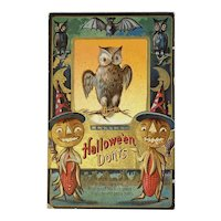 1911 M L Jackson Halloween Don'ts Postcard Owls Bats Pumpkin Corn Men Jack O Lanterns JOL Embossed