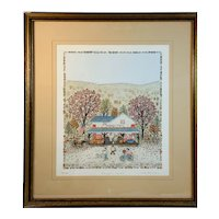 Pumpkin Harvest by Cuca Romley 136/175 Signed Limited Edition Hand Colored Etching