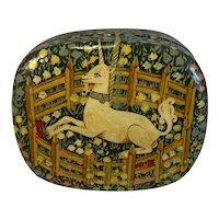 Paper Mache Unicorn Trinket Box Hand Made in Kashmir for Fetco Vintage Papier