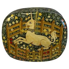 Paper Mache Unicorn Trinket Box Hand Made in Kashmir for Fetco Vintage Papier