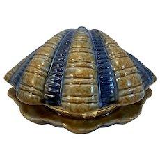 Vintage Art Pottery Shell Shaped Hinged Trinket Box Myrtle Beach Souvenir Seashell