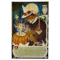 1913 Nash Halloween Postcard Witch Owls Moon Embossed Stirring Charm Potion in a Jackolantern Jack O Lantern Series 7