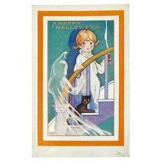 Whitney Made Halloween Postcard with Ghost Black Cat Girl with Candle A Happy Hallowe'en