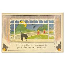 Unused Metro News Halloween Postcard Black Cats Jack O Lanterns JOLS Flying Witch Moon