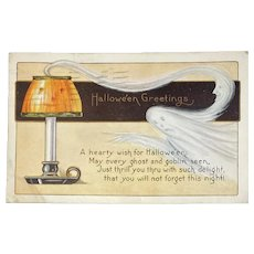 1920 Whitney Made Halloween Postcard with Ghost JOL Jack O Lantern Shade on Candle October 31 Postmark 31st
