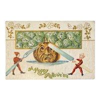 1909 German Halloween Embossed Postcard Elves Carve Eat Jackolantern JOL Green Pumpkins