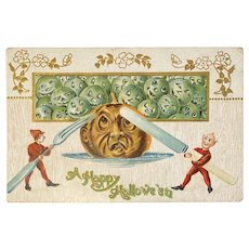 1909 German Halloween Embossed Postcard Elves Carve Eat Jackolantern JOL Green Pumpkins