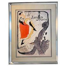 Framed Jane Avril Jardin de Paris Print by Henri de Toulouse Lautrec
