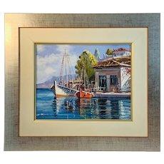 Coastal Harbor Sailing Ship Framed Oil Painting