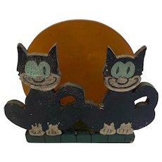 Wood Folk Art Black Cat Napkin Holder Orange Moon Backdrop Felix Halloween