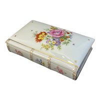 Limoges SA Porcelaine French Large Book Shaped Trinket Box Hand Painted Flowers France