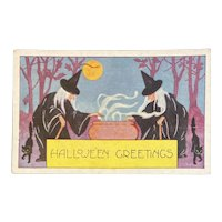 Whitney Made Halloween Postcard with Witches at Cauldron Black Cats Moon Witch