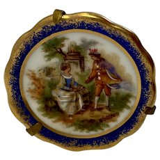 Miniature Limoges Watteau Signed Plate with Stand Romantic Courting Scene Colonial Couple