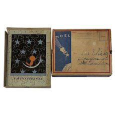 Vintage Christmas Puzzle Card in Noel Mailing Box CS Hammond & CO NY