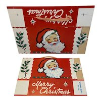 2 Christmas Candy Boxes Santa and Holly Made in USA Unused Box