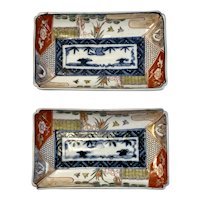Pair Matching Imari Trays Rectangle Shaped Dishes Platters Deep Cobalt and Red Color