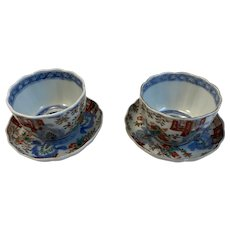 Pair Matching Imari Handleless Cup and Saucer Dishes Deep Red Color