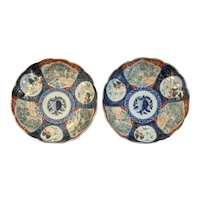 Pair Matching Imari Plates Dishes Platters Deep Cobalt and Red Color Scalloped Edge