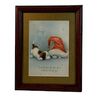 Framed Puppy and Kitty Cat Christmas Card All Vintage