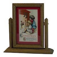 Framed Christmas Card or Postcard in Gold Decorated Swing Frame All Vintage