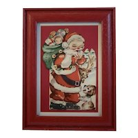 Framed Santa and Puppy Dog Christmas Card Made in USA Red Wood Frame All Vintage