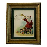 Framed Santa Blowing Horn Christmas Card in Gold Painted Wood Frame All Vintage