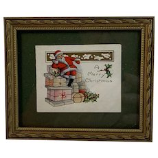 Framed Santa Sitting On Stack of Packages Christmas Card in Gold Painted Wood Frame All Vintage