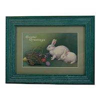 Framed Easter Postcard in Wood Frame All Vintage Bunny Rabbits Eggs Basket and Violets
