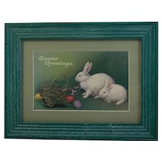 Framed Easter Postcard in Wood Frame All Vintage Bunny Rabbits Eggs Basket and Violets