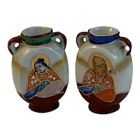 Pair of Moriage Handled Miniature Vases Occupied Japan Hand Painted with Immortals