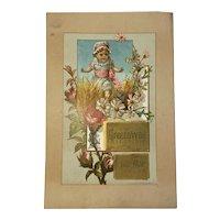 Large Kate Greenaway Pencil Tablet Trade Card JC Blair Huntingdon PA Victorian Advertising