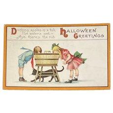 1914 Halloween Postcard Black Cat Children Ducking Apples Embossed Series 63 B