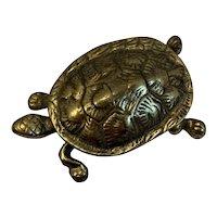 Brass Turtle Hinged Trinket Box Great Detail