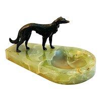 Vienna Bronze Greyhound Whippet Green Onyx Dresser Tray Dog