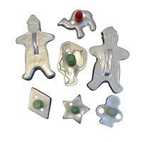 Christmas Cookie Cutter Collection Aluminum Santa Snowman Camel Star Diamond Spade Red Green Wood Handle