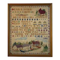 Dear Little House Needlepoint Cross Stitch Circa 1941