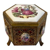 MIM Lador Filigree Metal and Porcelain Cameo Footed Music Box Hexagon Shape Plays Love Story Theme Works Vintage