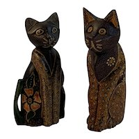 Bride and Groom Carved Decorated Wooden Cats