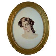 Portrait of a Beautiful Woman Print Signed Hugh Stuart Campbell 1905