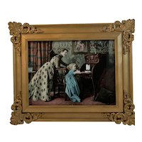 Victorian Mother Teaching Child Print Copyright 1900 In Ornate Frame