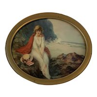 Young Lady with a Red Cape by the Seashore Print in Oval Frame